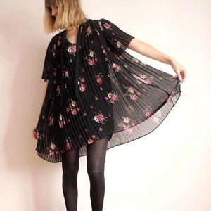 {Zara} Black Floral Print Romper Dress
